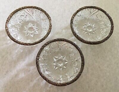 Antique cut glass dishes with silver plated ornate rim American Brilliant