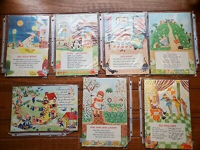 Vintage Nursery Rhyme Puzzle Pictures Unframed