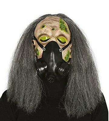 Fiestas Garland Gas Mask Latex with Hair, Green and Grey, Maskgasradio