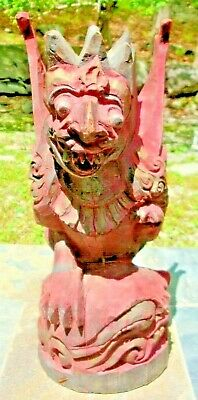 """Antique Hand Carved & Painted GRIFFIN Gargoyle Wooden Figure  14.5"""" Tall"""