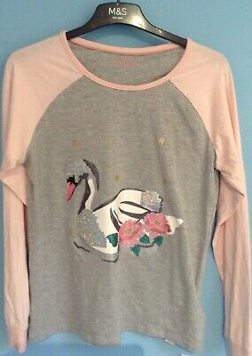 BNWT M&S Marks And Spencer Girls Pjs AGE  15-16 Yrs, SWANS, GLITTER,SEQUINS