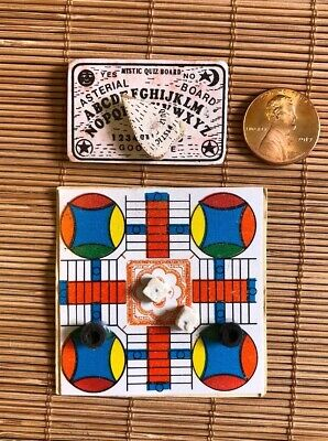 Vintage Miniature Dollhouse Games -Ouija Board/Mystic Quiz Board And Parcheesi