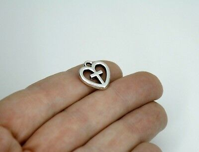 10 Silver Cross Heart Charms 15 x 4 mm Double Sided Antique Silver US Seller 368