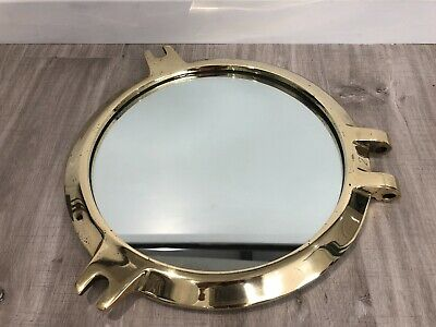 Solid Brass Ship / Boat Port Hole Mirror La Salle History Antique Salaged