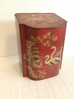 Baret Ware Art Grace No.198 Red Gold Metal Japanese Hinged Tea Tin Canister Box