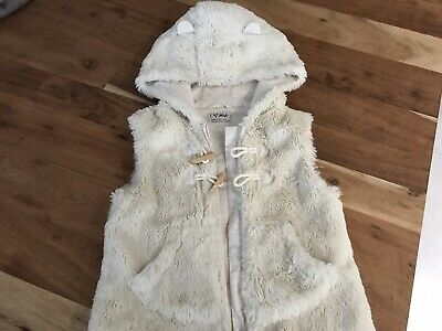 Girls Next Cream Fur Gillet with Hood - Age  3-4 Years