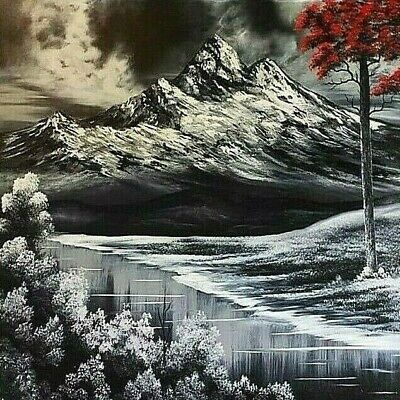 Original Signed Mountain Oil Painting 24x24 Canvas Bob Ross Paints & Technique