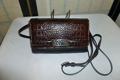 Brighton Moc Croc Black & Brown Leather Crossbody Purse Wallet Organizer