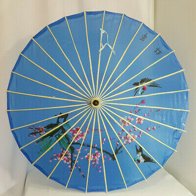 Vintage Oriental Asian Parasol Umbrella Wood Fabric Blue Pink Flowers