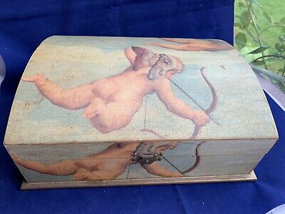 Large Domed Ornate Shabby Chic Distressed Cherub Wooden Box