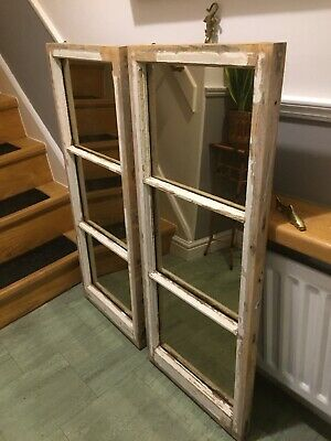 Window Mirror X 2  Paired Edwardian Pine Frames ,salvaged Rose Tint Inserts