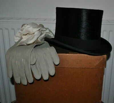 Vintage 1930's Carswell, Glasgow Black Silk Top Hat -7 1/8 +Original Box +Gloves