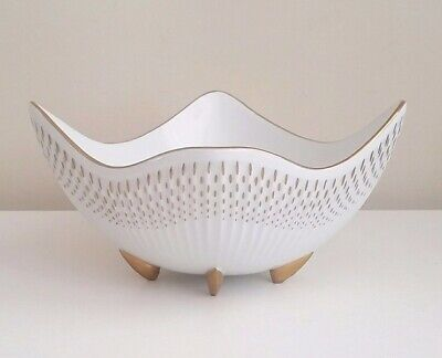 STUNNING Mid Century Modern MCM White + Gold Trim Gilded Ucagco Footed Bowl Dish