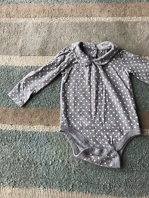 Baby Gap Girls Long Sleeve Bodysuit Top With Peter Pan Collar 12-18m Exc. Cond