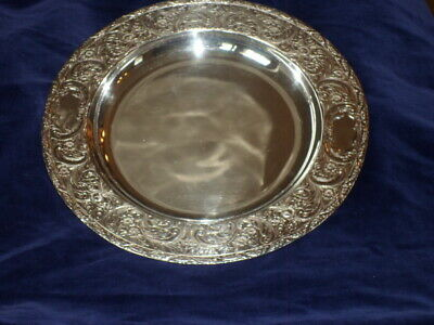 Fancy & Heavy EG Webster & Son Silverplate Tray - Hand Chased & Repousse