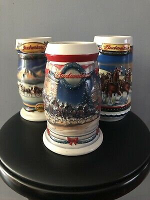 Budweiser Holiday Steins Lot Of 3 2000, 2001, 2002