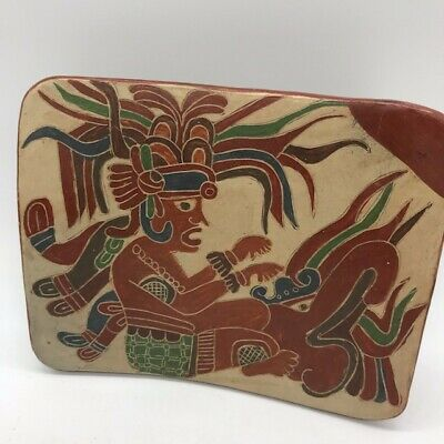 "pre columbian repro clay pottery sacred metate L:6"" vivid mayan colors (#3 of 3)"