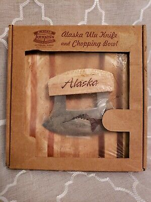 Alaska Ulu Handle Knife and Chopping Bowl Board - New with damaged packaging