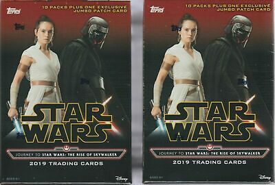 (2) Topps 2019 Star Wars The Rise Of Skywalker Blaster Boxes +Jumbo Patch Card