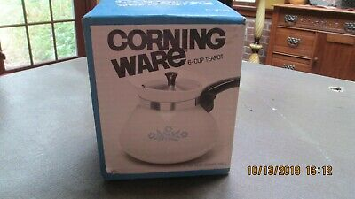 NIB Corning Ware Blue Cornflower 6 Cup Teapot/Kettle P-104 NEW