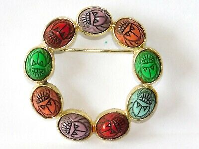 vtg Carved SCARAB Beetle Bug Gold Tone Pin Brooch~Egyptian Revival~Multi-Color