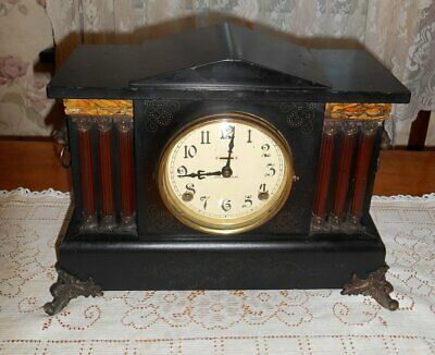 Antique Ingraham Black Mantel Clock 8 Day Wood Case Gong and Bell Strike