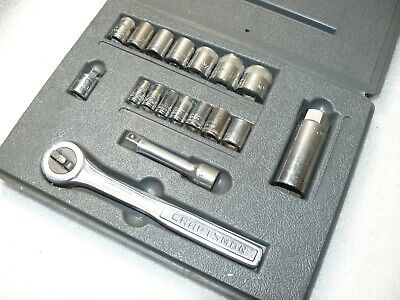 "Vintage SEARS / CRAFTSMAN No.9-33237 19 Piece 1/4 & 3/8"" Drive METRIC Socket Set"