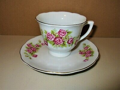 Fine Porcelain By Northridge China Tea Cup & Saucer 2pc Set Pink Roses/Flowers