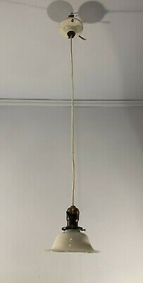 Antique vtg Victorian opal reflector shade cord pendant porcelain canopy rewired