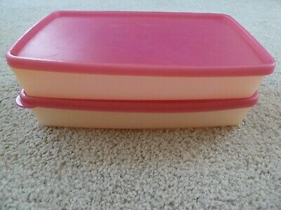 2 Tupperware FREEZE-IT Pak N Store Shallow Rectangle Containers 5552 Snowflakes