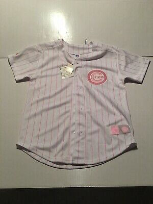 Russell Athletic Chicago Cubs Pink Pinstripes Baseball Jersey Size 16 Girls