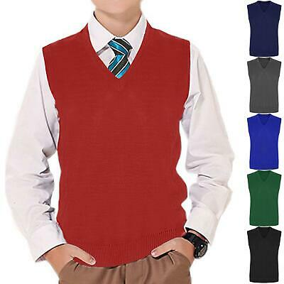 Kids Boys Girls V Neck Sleeveless Knitted Tank Top Jumper Uniform School Wear