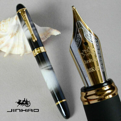 Jinhao X450 Black And White Cloud 0.7mm Broad Nib Fountain Pen 18KGP Gold Trim