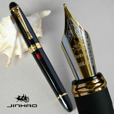 Jinhao X450 Black with Fireworks 0.7mm Broad Nib Fountain Pen 18KGP Gold Trim