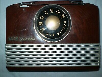 "RCA Victor Tube AM Radio Model B-411 Portable 8x6"" 1950's  Very Clean"