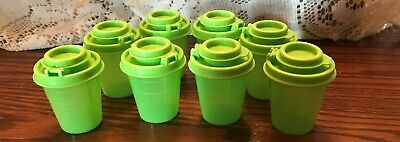 2 NEW TUPPERWARE Small Midget Mini Salt And Pepper / Spice Shakers : LIME Green