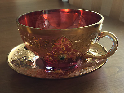Enameled & Jewelled Moser Cup and Saucer