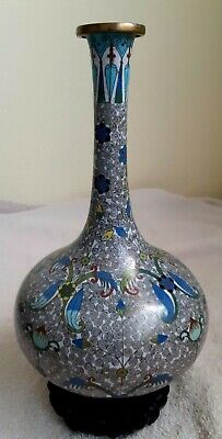 """Antique Nice Chinese Metal Enamel Cloisonne Buddhist Floral Vase 11"""" with Base"""