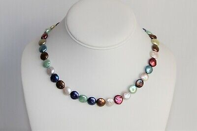 One-of-a-Kind Multi-Colored Fresh Water Cultured Pearl Sterling Silver Necklace