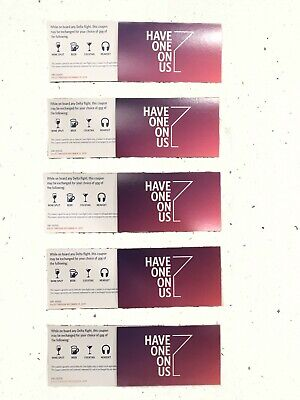 (10) Delta Airlines In Flight Coupons Drink, Beer, Cocktail Headset Vouchers Nr!