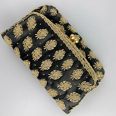 Vintage Gold Beaded Pineapple Strawberry Clutch Purse Hand Beaded Hong Kong