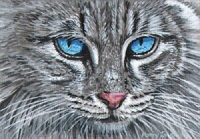 Original Painting Cat Portrait Animal Art ACEO Miniature