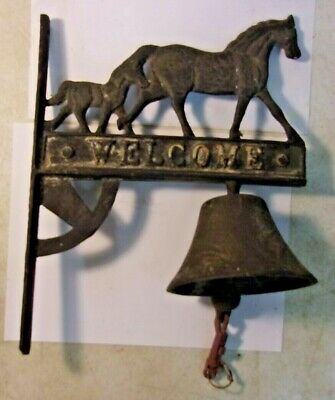 CAST IRON Horse and Foal WELCOME SIGN WALL Dinner BELL