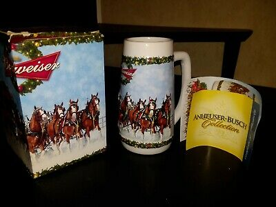 2009 Budweiser Holiday Stein Mug Christmas Clydesdales With Box CS699