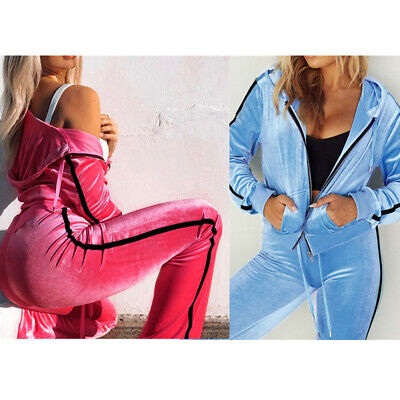 Winter Women's Top+Pants Jumpsuit 2pcs Set Hoodies Velvet Sweatershirt Tracksuit