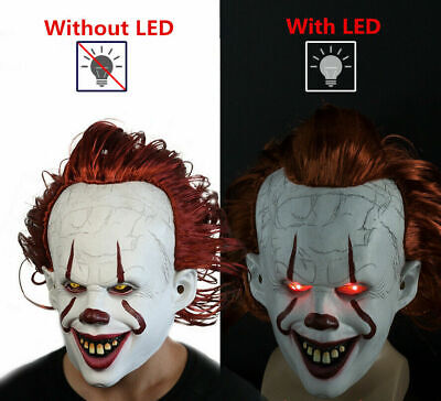 LED Joker Pennywise Mask Stephen King It Chapter Two 2 Cosplay Latex Scary Prop