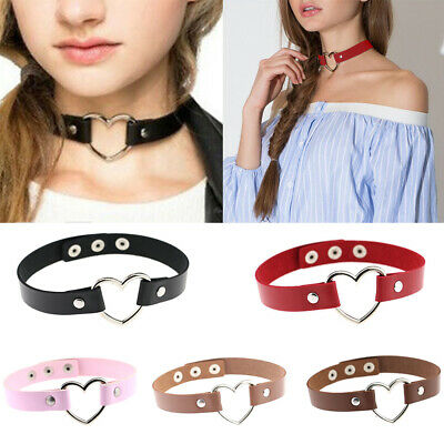 Women Punk Goth Emo Leather Rivet Heart Ring Collar Choker Funky Necklace Gift