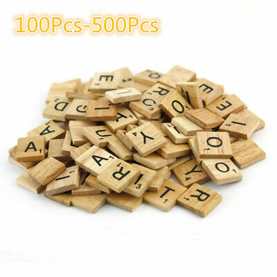 500* Wooden Letters Alphabet Scrabble Tiles Letters & Numbers For Game &Crafts