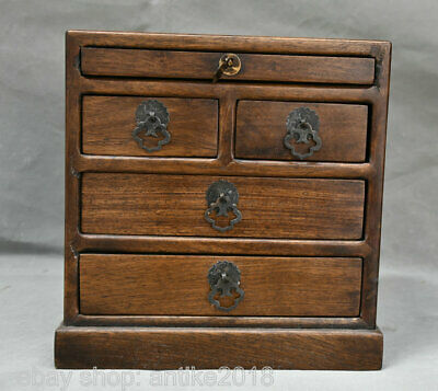 """10"""" Old Chinese Huanghuali Wood Carving Dynasty 5 Drawer Locker Chest Box"""