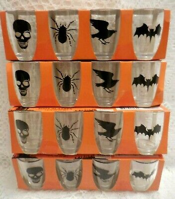 ONE (1 ) Set of Happy Halloween Shot Glasses (4 acrylic glasses), 1.8fl. oz Each